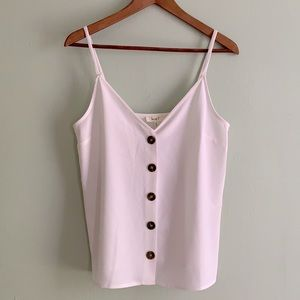 LOVE J White Tank with brown Buttons